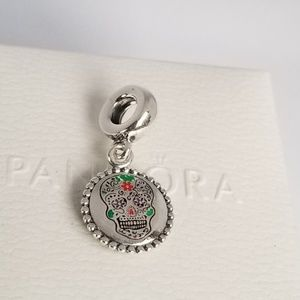 Pandora Skull Day of the Dead Charm  Dangle Silver
